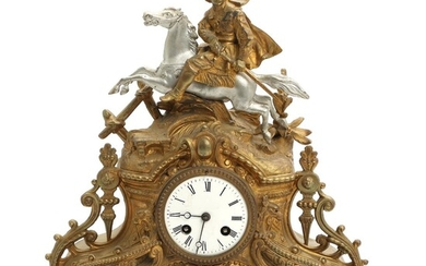 A 19th century French gilt bronze and silvered mantel clock, decorated with an equestrian figure. H. 35 cm. – Bruun Rasmussen Auctioneers of Fine Art