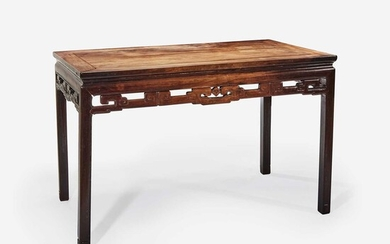 A Chinese hardwood rectangular table, possibly huanghuali 硬木方桌 或黄花梨 Probably Qing dynasty 或清
