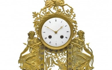 A French gilt-metal and white marble portico mantel clock, 19th century