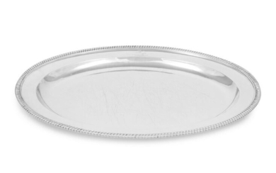 A George III Silver Meat Platter with Engraved Crest