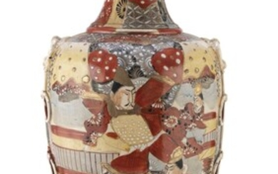 A JAPANESE POLYCHROME AND GOLD ENAMELED CERAMIC VASE EARLY 20TH CENTURY.