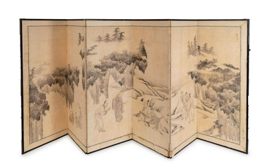 A Japanese Six-Fold Paper Screen Each panel, 60 x 23