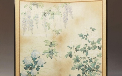 A Japanese painted two-panel bi-fold floral screen, lacquered frame with printed fabric border and a watercolour scene to centre depicting floral foliage, measuring 137cm high, 138cm wide