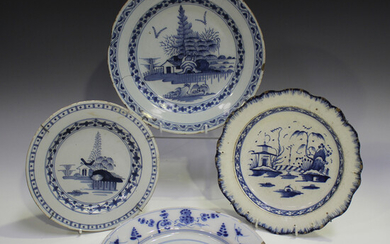 A Lambeth Delft plate, circa 1760, blue painted with a chinoiserie landscape, diameter 18.5cm, toget