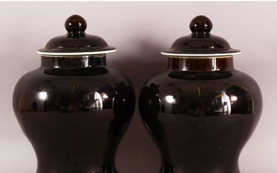 A PAIR OF CHINESE FAMILLE NOIR PORCELAIN GINGER JARS & COVER...