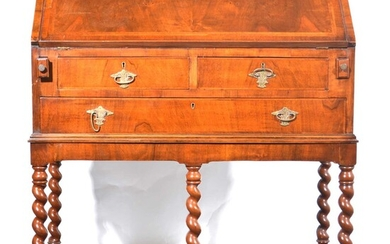 A Queen Anne style walnut bureau on stand, early 20h century.