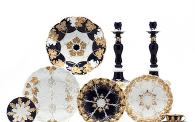 A Selection of Meissen, Candlesticks and Dishes