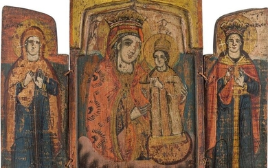 A TRIPTYCH SHOWING THE MOTHER OF GOD 'THE UNFADING...