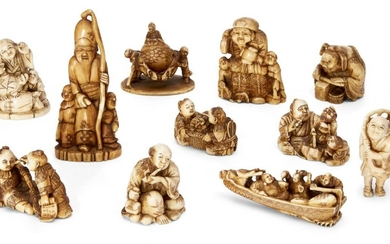 A collection of eleven ivory and horn Japanese netsuke, 19th century, to include a large netsuke of Daikoku, posed seated atop two rice bags with a mallet and bag in hand, signed Kogyoku in red lacquer reserve; Fukurokuju posed with staff and two...