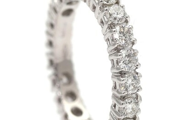 A diamond ring set with numerous brilliant-cut diamonds weighing a total of app. 1.45 ct., mounted in 18k white gold. E-F/SI. Size 52 – Bruun Rasmussen Auctioneers of Fine Art