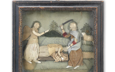 A late 18th / early 19th century raised and padded textile biblical picture depicting Abraham & Isaac