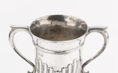 A late Victorian silver twin handled trophy cup