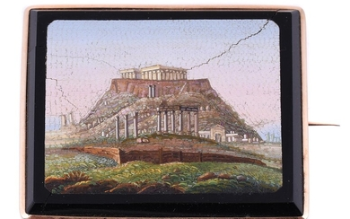 A mid 19th century micromosaic brooch of the Acropolis of Athens
