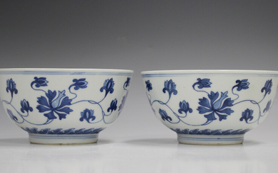 A pair of Chinese blue and white porcelain bowls, mark of Kangxi but 20th century, each painted with