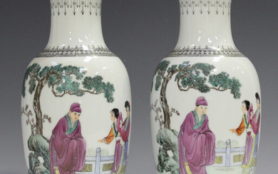 A pair of Chinese famille rose porcelain vases, Republic period, each shouldered tapering body paint