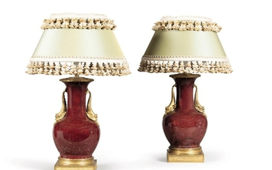 A pair of Louis XVI style gilt-bronze-mounted Chinese porcelain vases