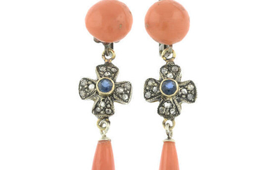 A pair of coral, sapphire and rose-cut diamond drop earrings.