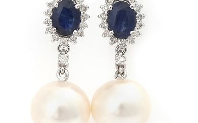 NOT SOLD. A pair of sapphire, diamond and pearl ear pendants each set with a...