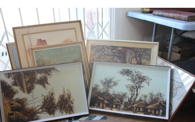 A quantity of general paintings and prints to include works ...