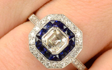 A sapphire and diamond square-shape cluster ring.