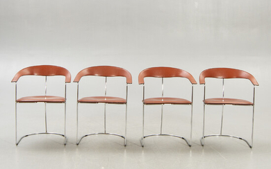 A set of four leather and chrome Arrben Ursula armchairs Italy 1980s