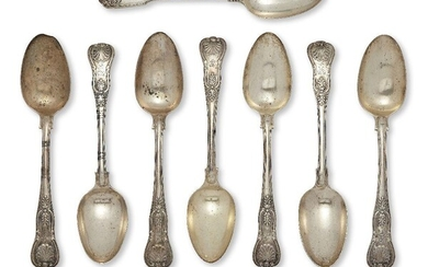 A set of six Victorian Queen's pattern tablespoons, London c.1845, Samuel Hayne & Dudley Cater, the terminal of each engraved with lion and crown armorial, together with two William IV Queen's pattern tablespoons, London, c.1831 and c.1832, with...