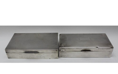 ADIE BROTHERS, A SILVER CIGARETTE BOX, with presentation ins...