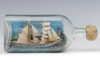 AN EARLY TO MID 20TH CENTURY SHIP-IN-A-BOTTLE