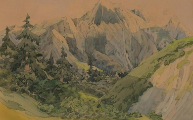American School 20th Century View of Mountains