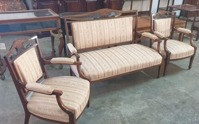 An Edwardian Rosewood and Mahogany 3-Piece Salon Suite, Comp...