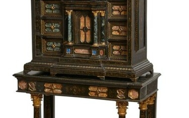 An Italian Baroque marble inset cabinet on stand