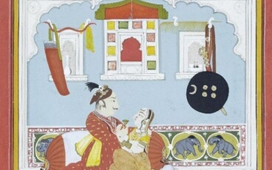 An amorous couple seated in their bedroom, Mewar, Udaipur, India, early 19th century, opaque pigments heightened with gilt on paper, the noble's shield, sword, bows and arrows hang on the wall, while the couple drink wine seated on cushions, single...