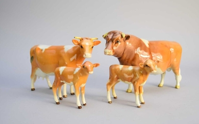 Beswick Guernsey cattle family group