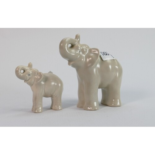 Beswick cream elephants: larger and smaller versions, talles...