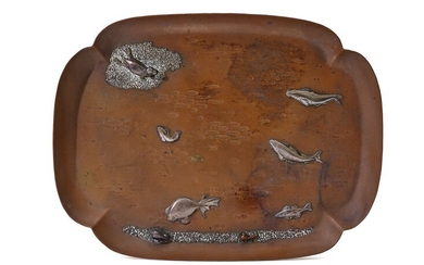 COPPER AND SILVER TRAY, GORHAM & CO