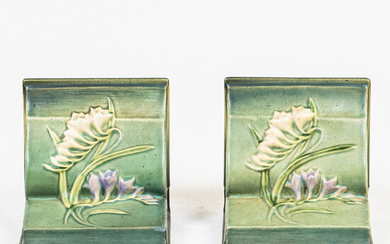 Cast Iron Bookend and a Pair of Green Roseville Bookends