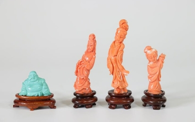 China 3 figures in coral and 1 Buddha in turquoise 20th