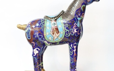 Chinese Cloisonne Horse w Stand