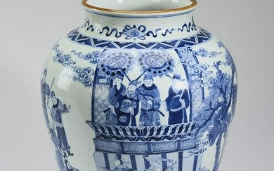 Chinese jar with scene of Emperor and soldiers