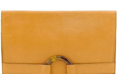 Christian Dior Tan Cross Hatched Leather Envelope