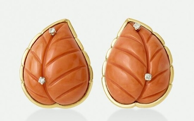 Diamond and coral leaf earrings