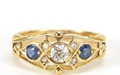 Edwardian 18ct gold diamond and sapphire ring with pierced o...