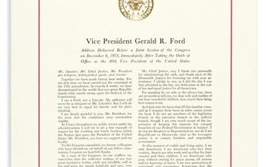 FORD, GERALD R. Printed address to Congress Signed, at