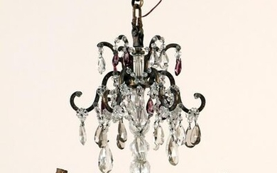 FRENCH BRONZE & CRYSTAL CHANDELIER C. 1920