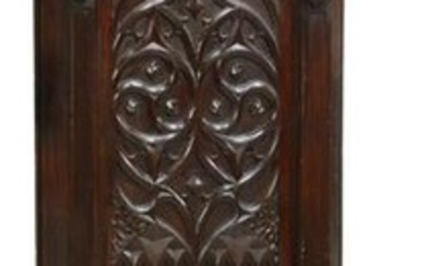 FRENCH GOTHIC REVIVAL CARVED OAK HALL BENCH