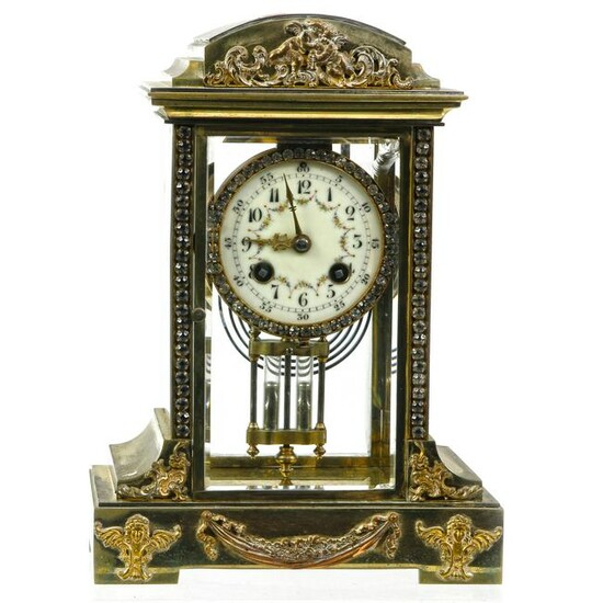 French crystal and gilt mantel clock, the movement by