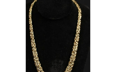 GOLD PLATED NECKLACE & 14kt BYZANTINE RING SET