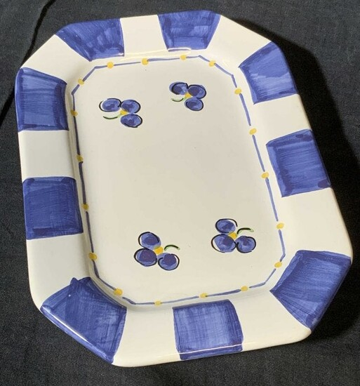 Hand Painted Ceramic Floral Trinket Dish, Portugal