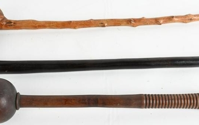 LOT OF 3 WOOD TRIBAL BATTLE OR WAR CLUBS