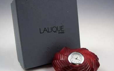 Lalique Ruby Red Crystal Heart St. Valentine Desk Clock